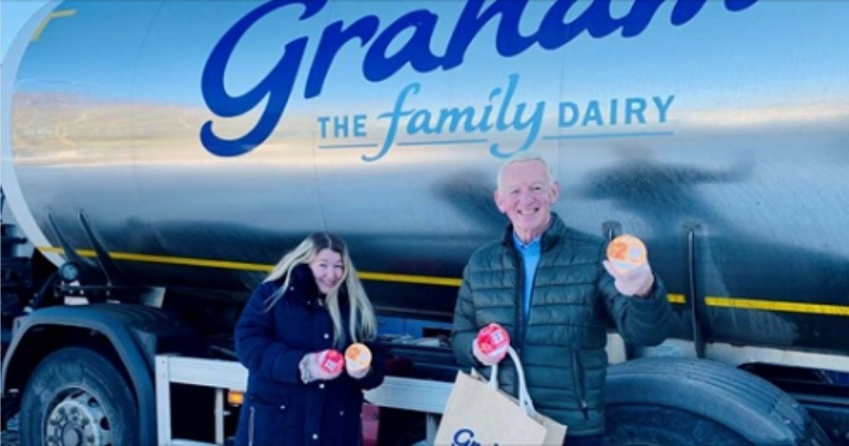 """Charlene Leslie was given a year's worth of Graham's products after she """"helped"""" push a struggling dairy truck up a snowy road."""