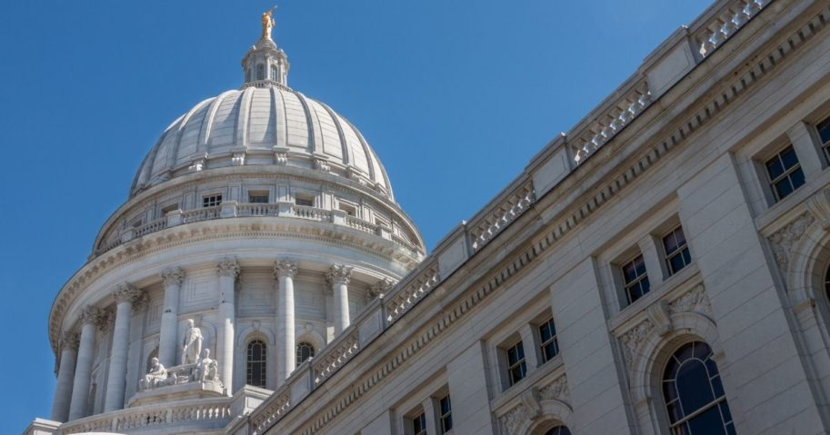 The Wisconsin State Capitol is seen in this stock image.