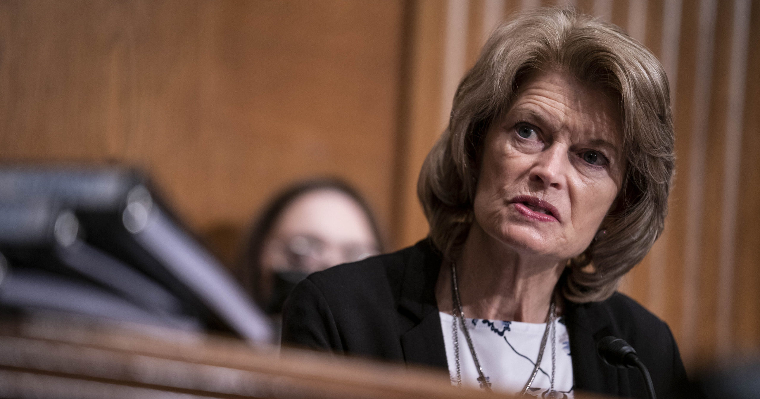 Sen. Lisa Murkowski of Alaska speaks during a hearing on Capitol Hill in Washington, D.C., on Feb. 23, 2021.