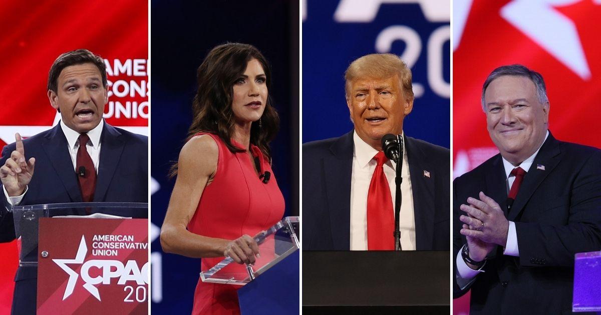 Ron DeSantis, Kristi Noem, Donald Trump and Mike Pompeo