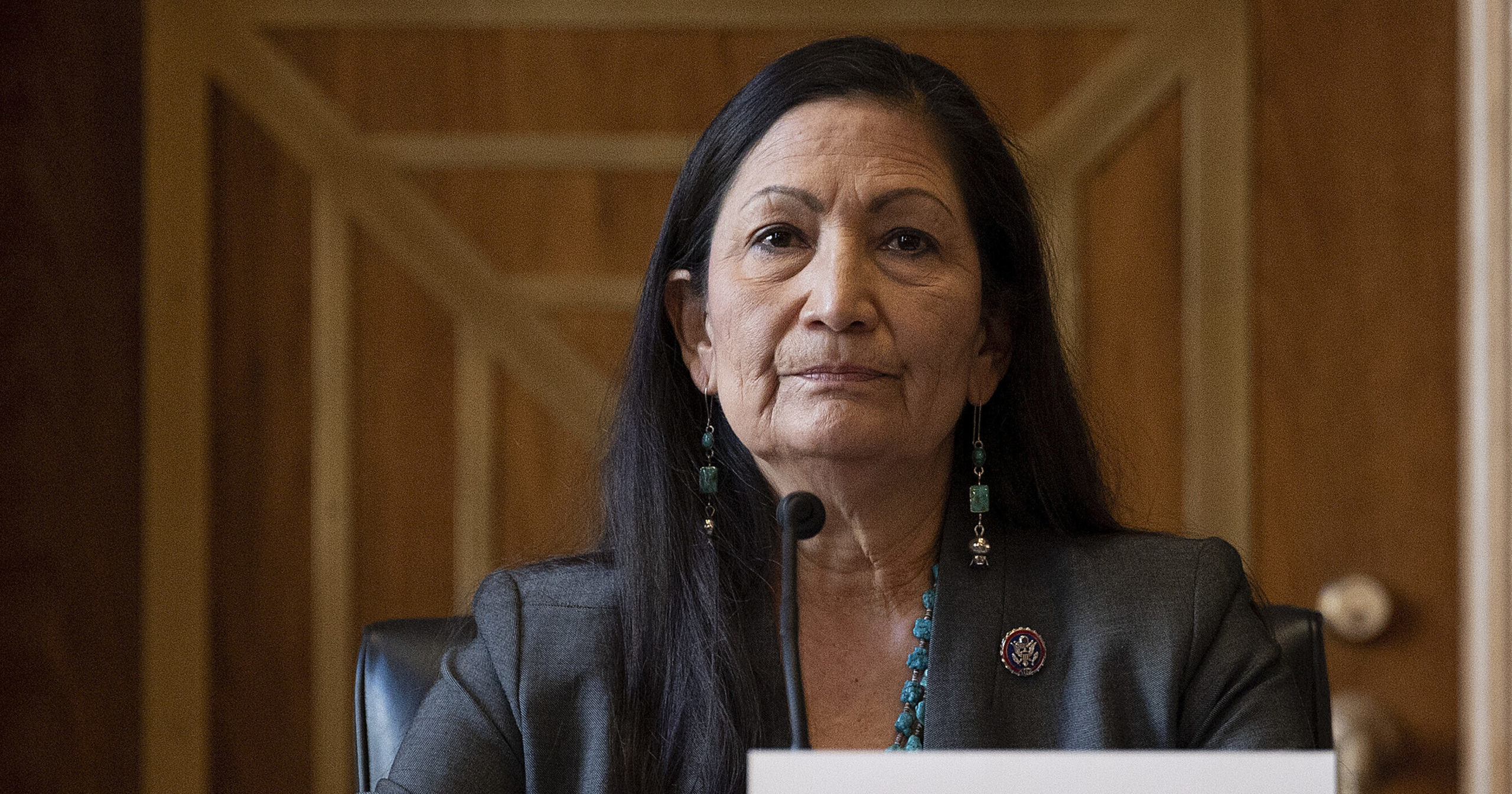 Rep. Deb Haaland listens during a Senate Committee on Energy and Natural Resources hearing on her nomination as interior secretary on Capitol Hill in Washington, D.C., on Feb. 23, 2021.