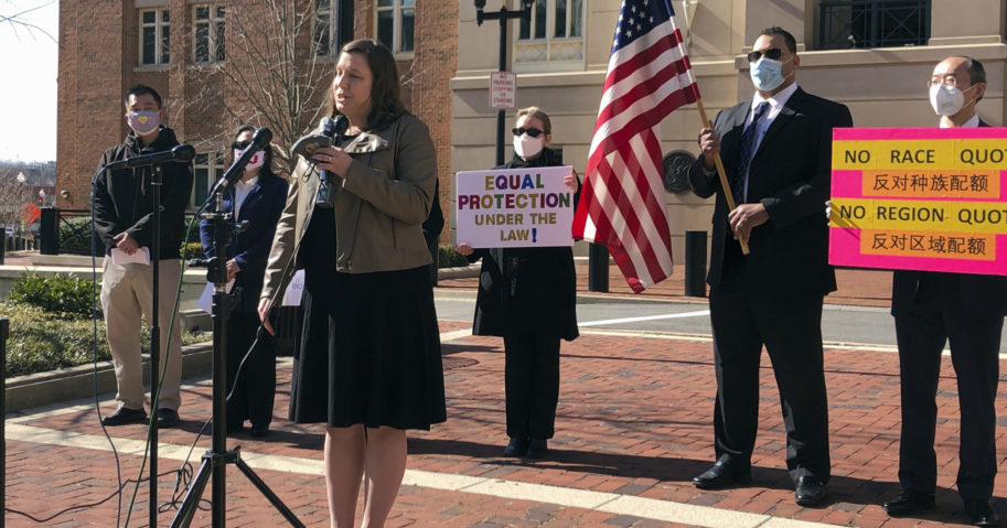 Pacific Legal Foundation attorney Erin Wilcox speaks at a news conference outside the federal courthouse in Alexandria, Virginia, on March 10, 2021.