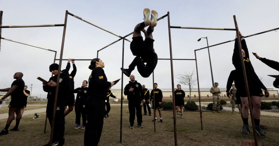 In this Jan. 8, 2019, file photo, U.S Army troops training to serve as instructors participate in the new Army combat fitness test at the 108th Air Defense Artillery Brigade compound at Fort Bragg, North Carolina.