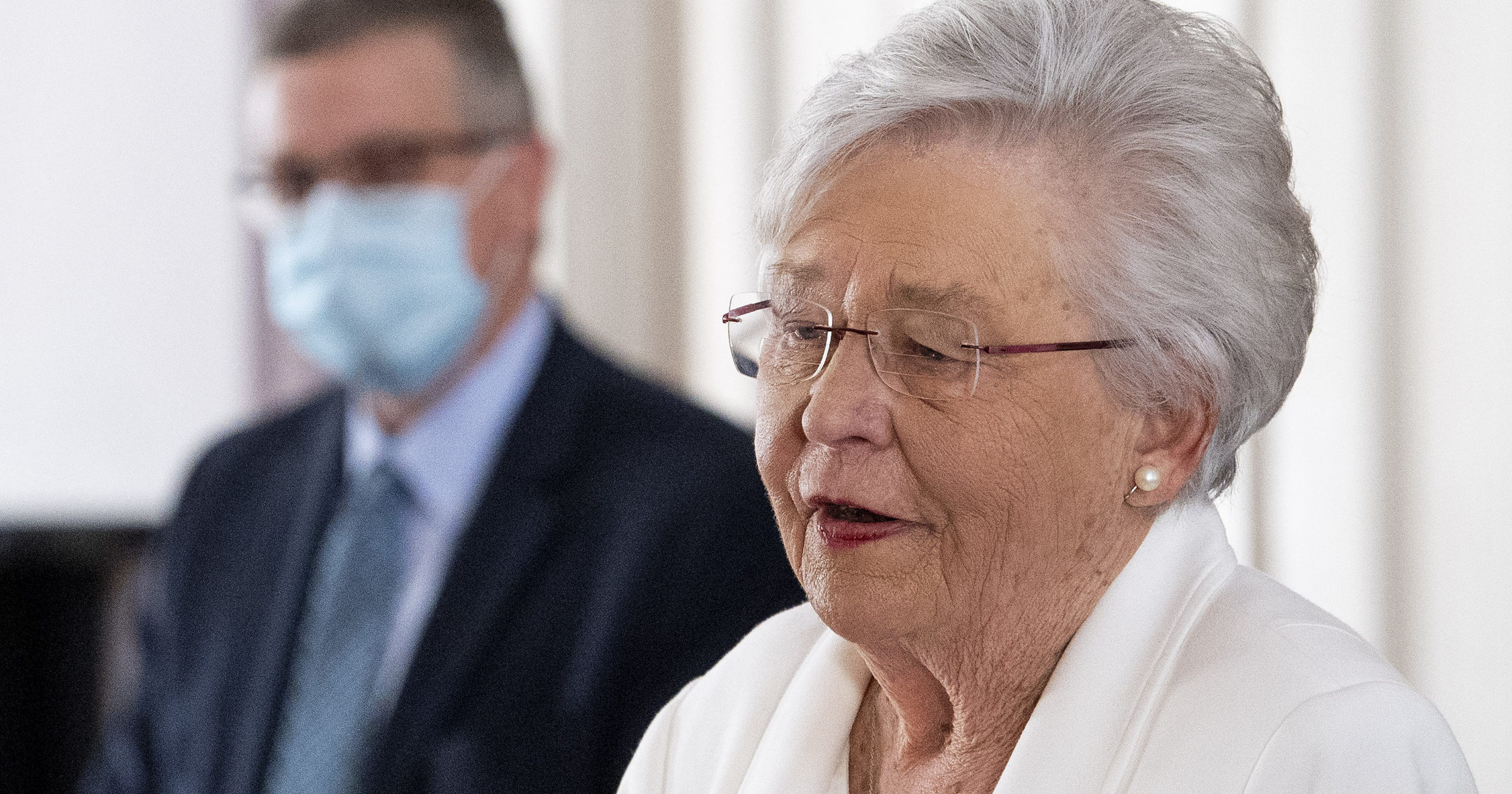 Alabama Gov. Kay Ivey speaks during a news conference at the Alabama Capitol in Montgomery, Alabama, on March 4, 2021.