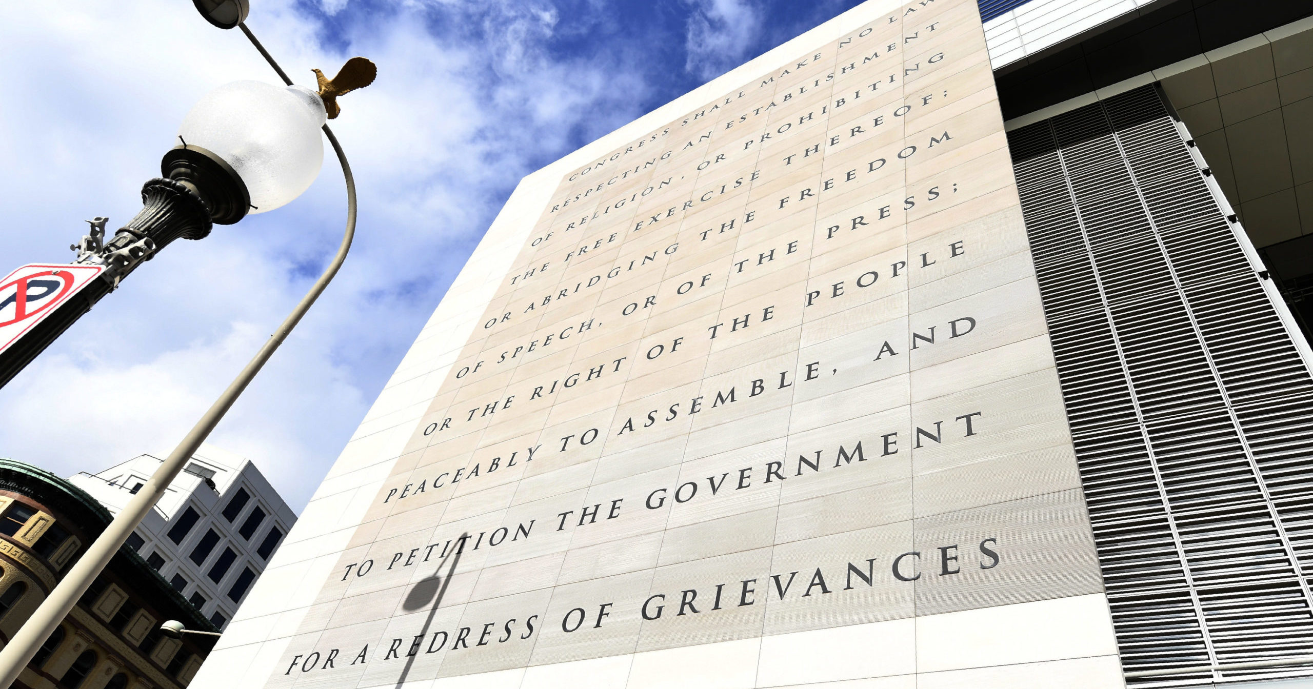 The facade of the Newseum, bearing the words of the First Amendment, is seen on Dec. 31, 2019, in Washington, D.C.