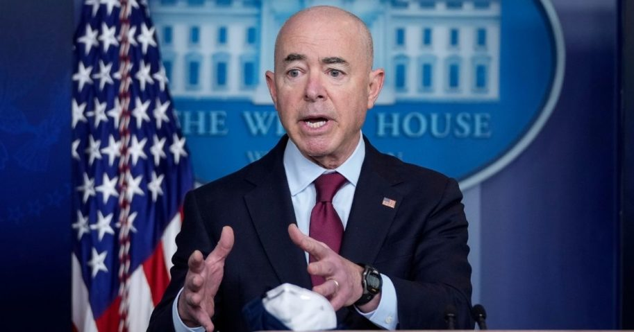 Secretary of Homeland Security Alejandro Mayorkas speaks during the daily media briefing at the White House on March 1, 2021, in Washington, D.C.