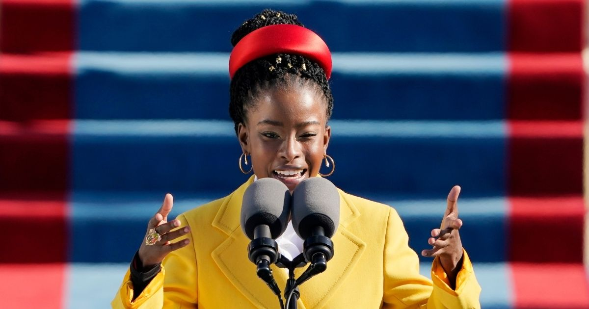 American poet Amanda Gorman reads a poem during the 59th presidential inauguration at the U.S. Capitol in Washington, D.C., on Jan. 20, 2021.