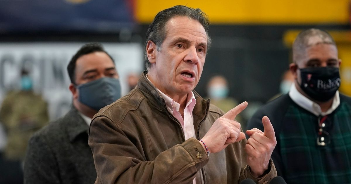 New York Governor Andrew Cuomo speaks during a news conference at a vaccination site in the Brooklyn borough of New York, on Feb. 22.