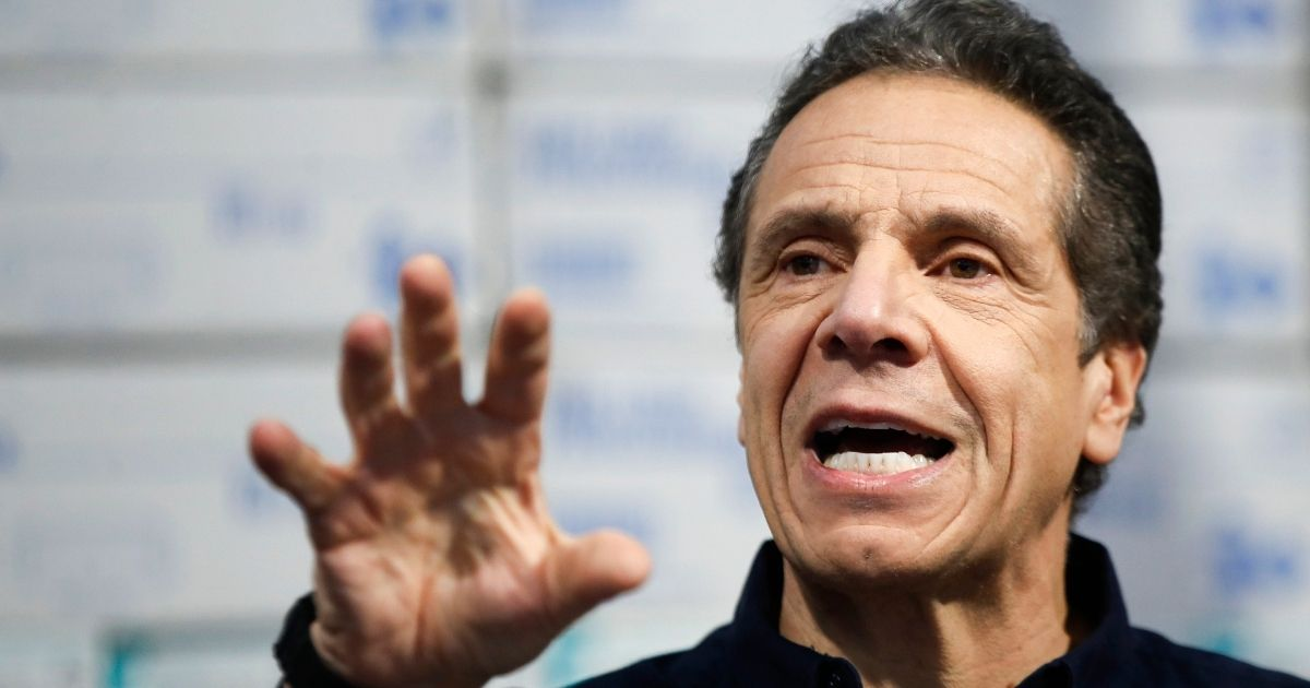 Democratic New York Gov. Andrew Cuomo speaks during a news conference against a backdrop of medical supplies at the Jacob Javits Center in New York on March 24, 2020.