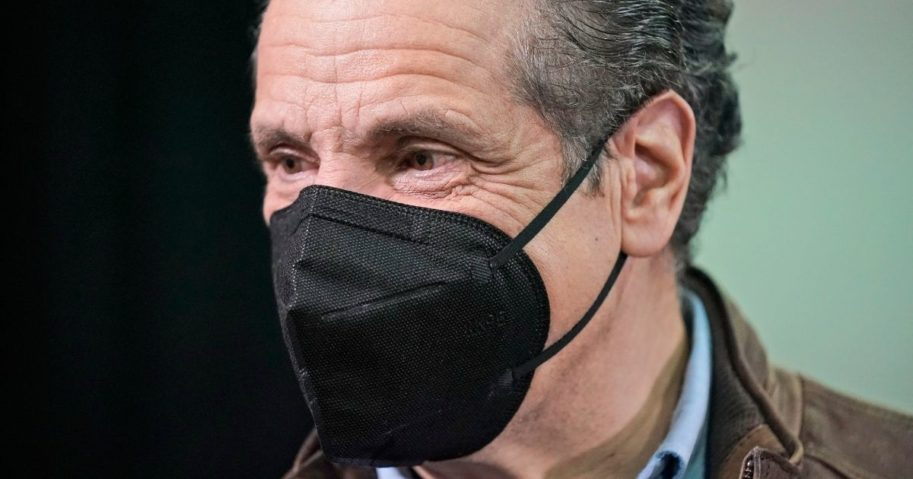 New York Governor Andrew Cuomo talks to people after a press conference before the opening of a mass Covid-19 vaccination site in the Queens borough of New York, on Feb. 24.