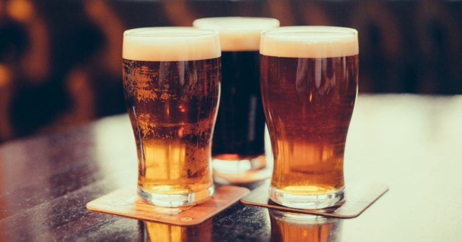 Glasses of light and dark beer are pictured in the stock image above.