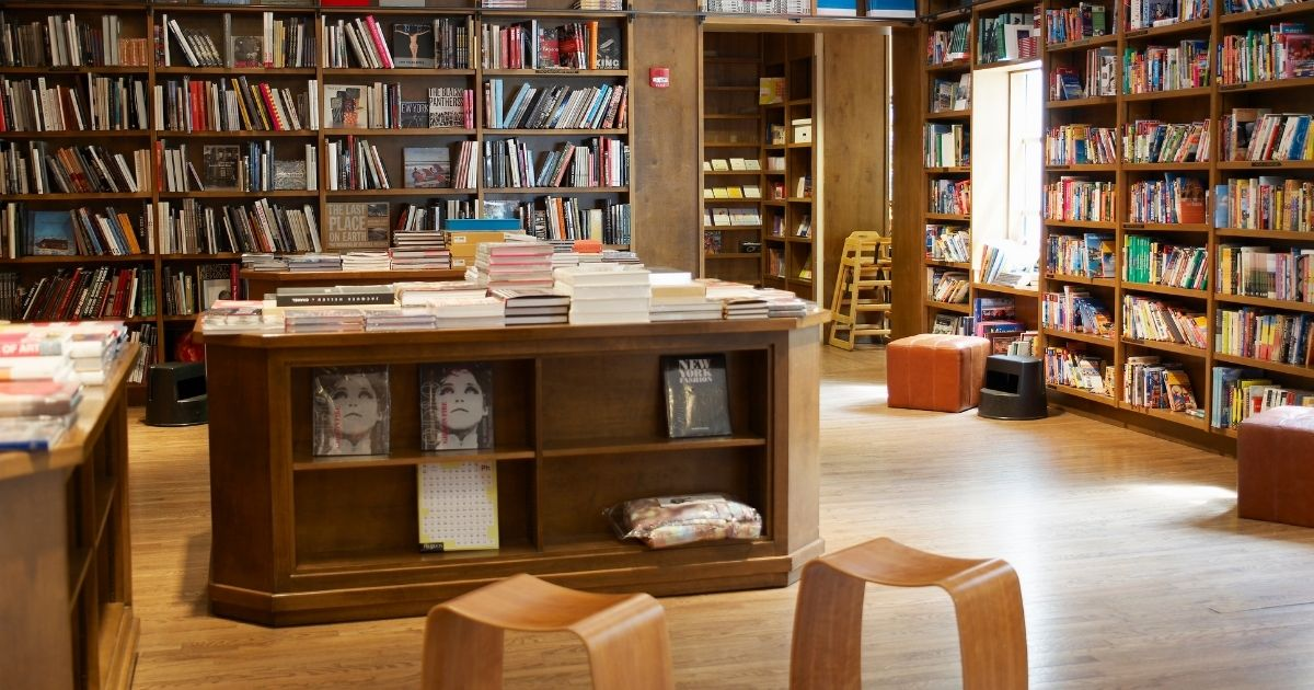 This stock photo shows the inside of a bookstore. The Raven bookstore, owned by Danny Craine, in Lawrence, Kansas, is encouraging readers to spend their money where it really matters.