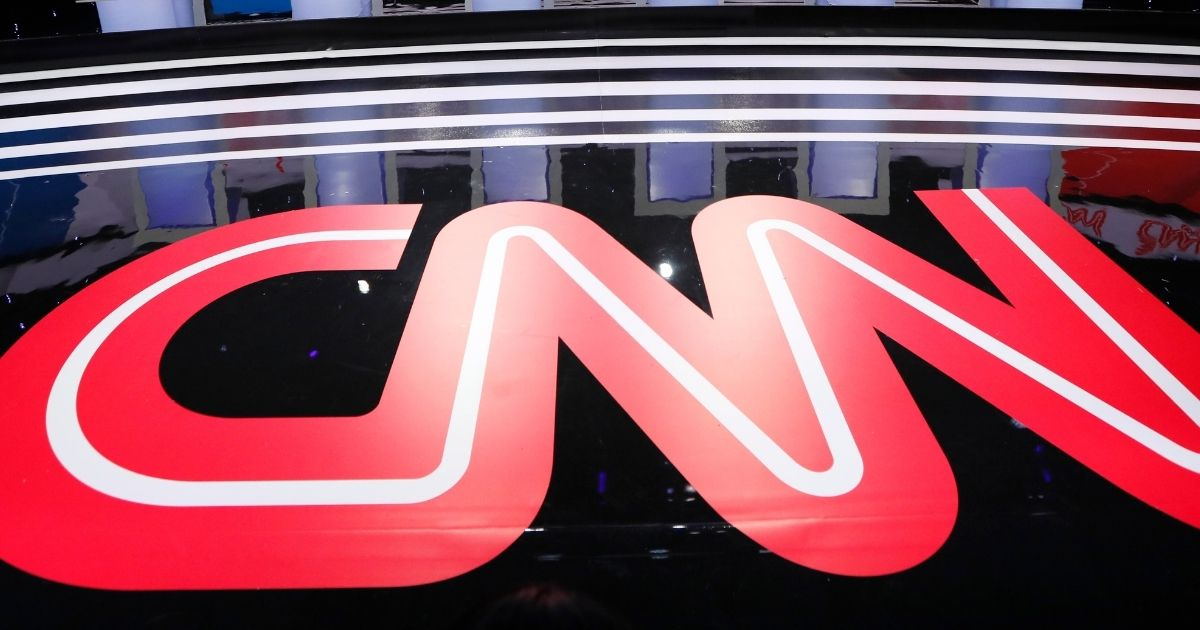 The CNN logo is seen on the stage on Jan. 14, 2020, before a Democratic presidential primary debate hosted by CNN and the Des Moines Register in Des Moines, Iowa.
