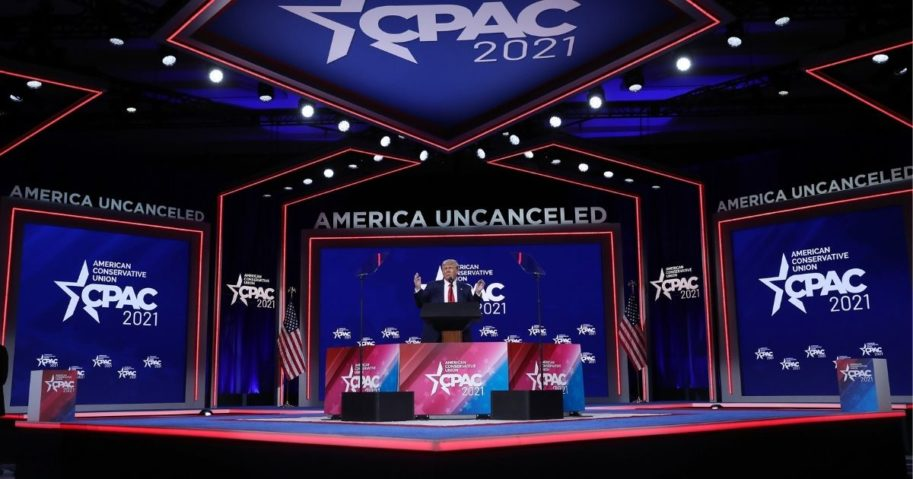 Former President Donald Trump addresses the Conservative Political Action Conference (CPAC) held in the Hyatt Regency on Sunday in Orlando, Florida.