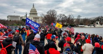 Pro-Trump protesters make their way to the Capitol in Washington on Jan. 6.