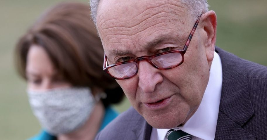 Senate Majority Leader Chuck Schumer announces the introduction of the For the People Act outside the U.S. Capitol on Wednesday in Washington, D.C.