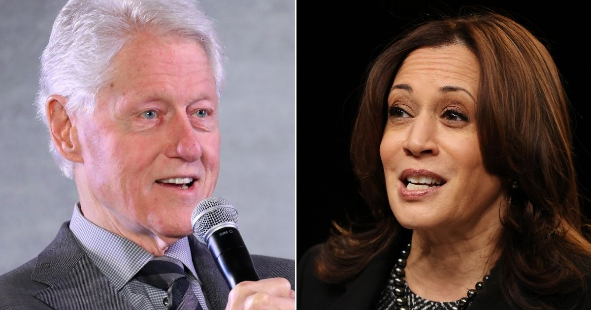 Former President Bill Clinton, left, and Vice President Kamala Harris, right.