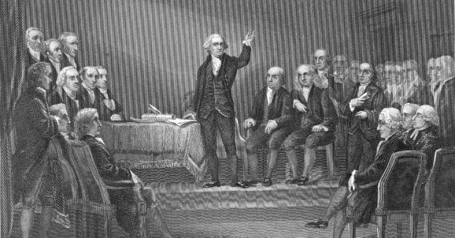 George Washington presides over the Constitutional Convention in Philadelphia in 1787.