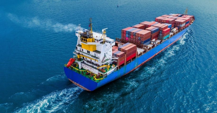 A container ship on the open sea is pictured in the stock image above.