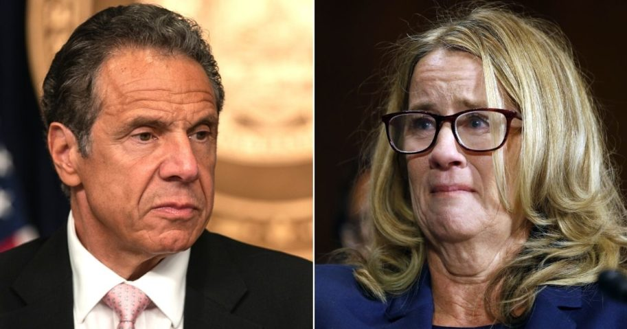 Left: New York Gov. Andrew Cuomo speaks during a media briefing in New York City on June 12. Right: Christine Blasey Ford speaks before the Senate Judiciary Committee hearing on the nomination of Brett Kavanaugh to be an associate justice of the Supreme Court on Capitol Hill on Sept. 27, 2018.