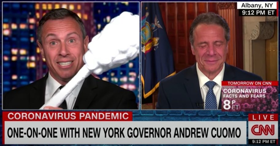 CNN's Chris Cuomo, left, jokes with his brother, New York Gov. Andrew Cuomo, on the air.