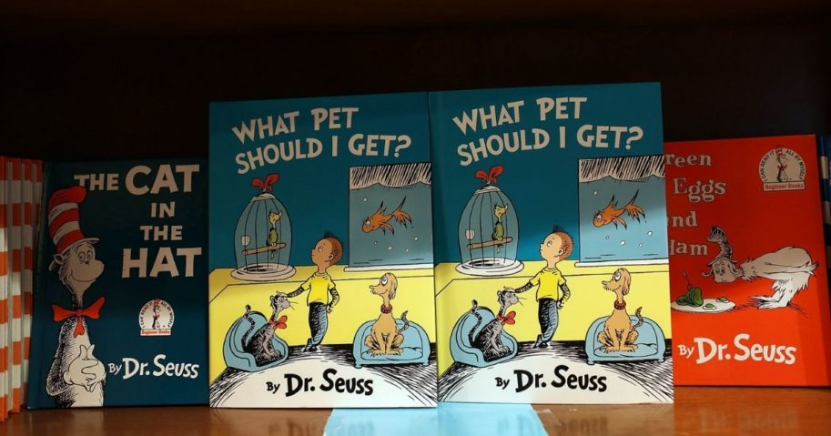 Dr Seuss books displayed on a shelf