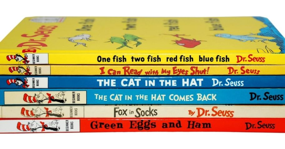 A stack of books by Dr. Seuss is pictured above.