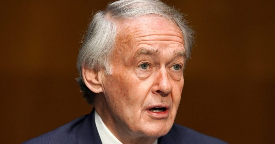 Democratic Sen. Edward Markey of Massachusetts introduces Samantha Power, nominee to be administrator of the U.S. Agency for International Development, at her confirmation hearing before the Senate Foreign Relations Committee on Tuesday on Capitol Hill in Washington, D.C.