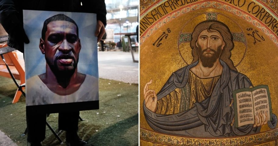 The judge in the murder trial of former Minneapolis police officer Derek Chauvin has banned experts from comparing George Floyd, a picture of whom is seen on the left, to Jesus.