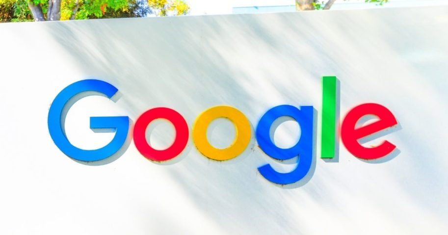 The Google logo is pictured on a sign in Mountain View, California.