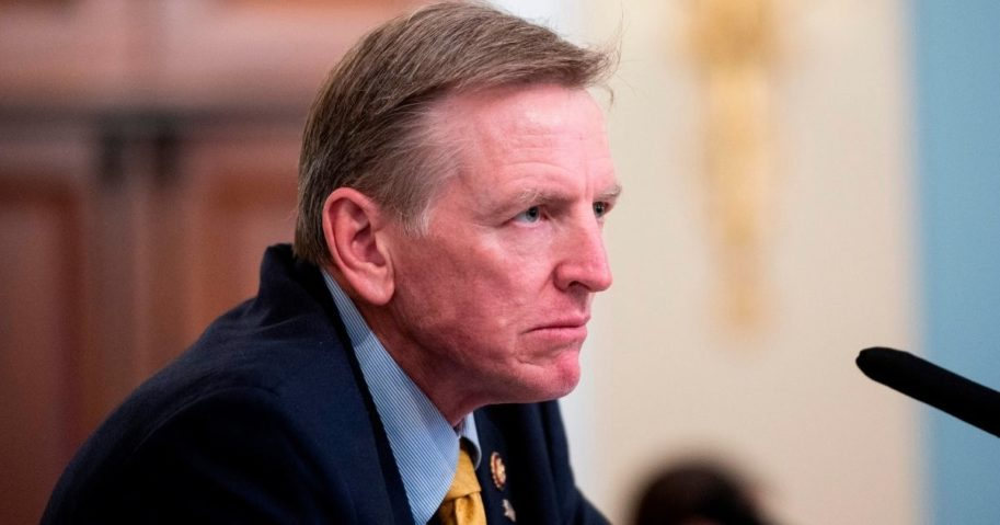 Republican Rep. Paul Gosar of Arizona listens during a House Natural Resources Committee hearing on Capitol Hill in Washington on July 28.