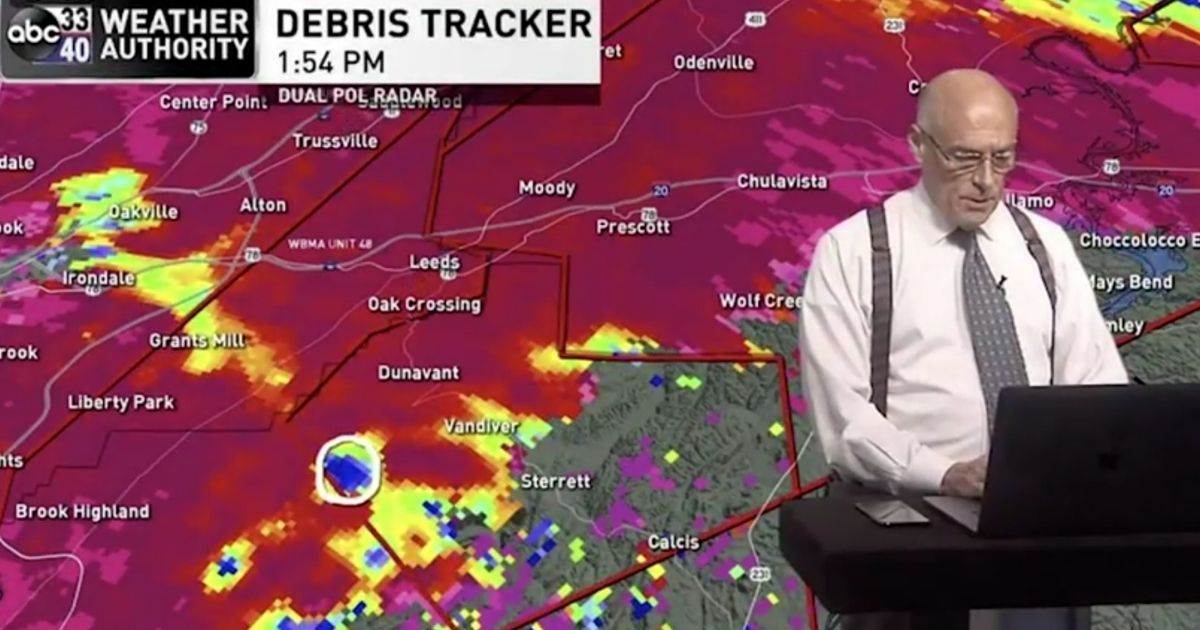 Weatherman James Spann reported on tornadoes taking place in Alabama while one was approaching his own house during a live stream on WBMA-LD on March 25.