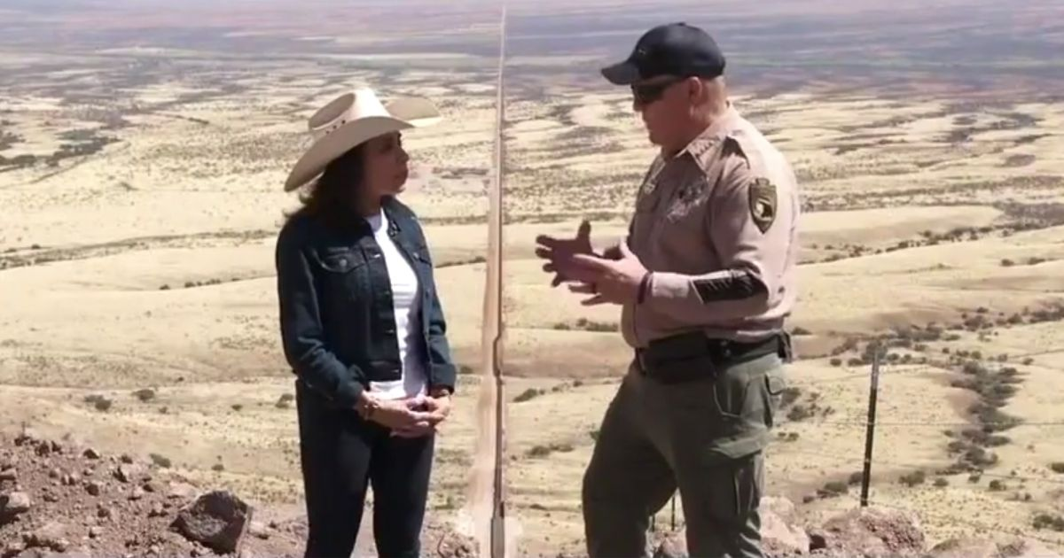 Fox News host Jeanine Pirro, left, speaks with Cochise County, Arizona, Sheriff Mark Dannels on Saturday at the southern border.