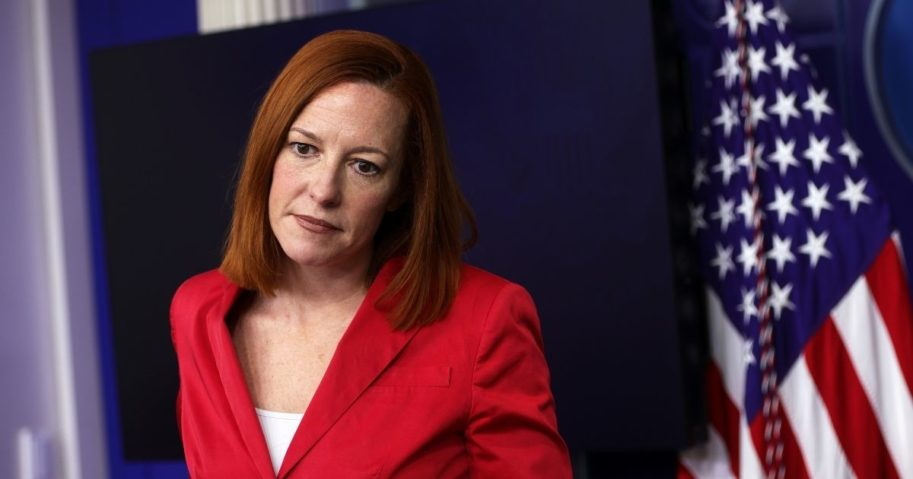 White House press secretary Jen Psaki listens during a daily media briefing in the James Brady Press Briefing Room of the White House in Washington, D.C., on Thursday.