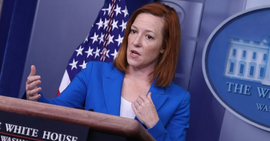 White House press secretary Jen Psaki talks with reporters in the Brady Press Briefing Room at the White House on Wednesday in Washington, D.C.