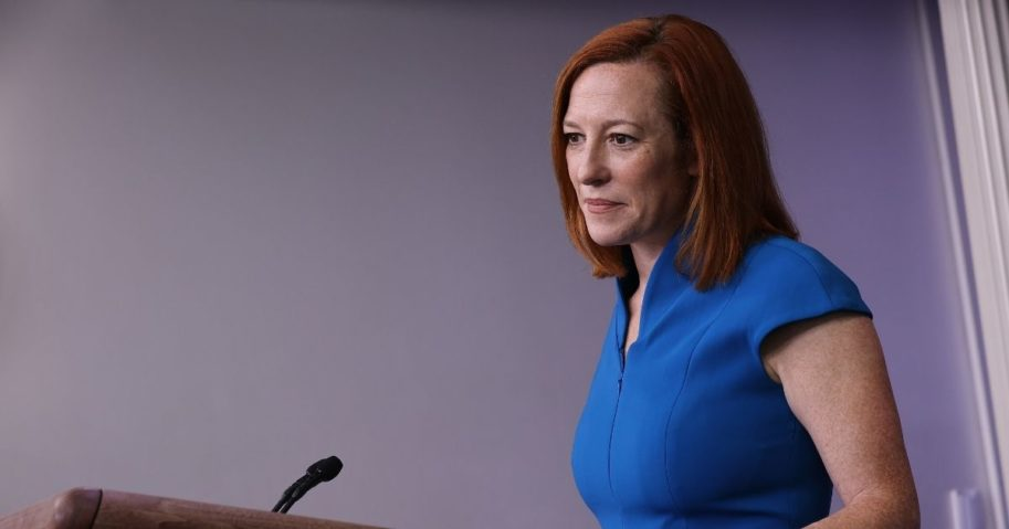 White House press secretary Jen Psaki talks to reporters during a news conference in the Brady Press Briefing Room at the White House on Friday in Washington, D.C.