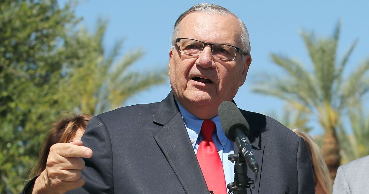 Former Maricopa County Sheriff Joe Arpaio speaks to the media in front of the Arizona State Capitol before filing petitions to run for the U.S. Senate on May 22, 2018, in Phoenix, Arizona.