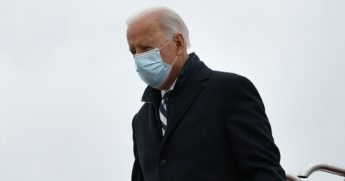 President Joe Biden steps off Air Force One upon arrival at Andrews Air Force Base in Maryland on Monday.