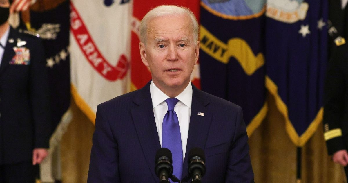 President Joe Biden delivers remarks on International Women's Day during an announcement at the East Room of the White House on Monday in Washington, D.C.