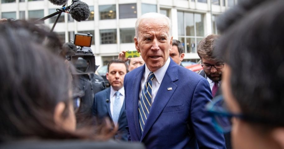 President Joe Biden speaks to the media at the International Brotherhood of Electrical Workers Construction and Maintenance conference on April 5, 2019, in Washington, D.C.
