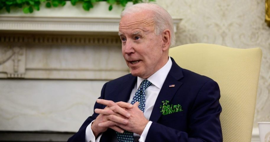 President Joe Biden speaks during a virtual meeting with Irish Prime Minister (Taoiseach) Micheal Martin in the Oval Office of the White House on Wednesday in Washington, D.C.