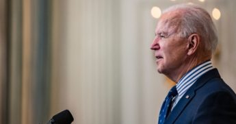 President Joe Biden speaks from the State Dining Room following the passage of the American Rescue Plan in the U.S. Senate at the White House on Saturday in Washington, D.C.