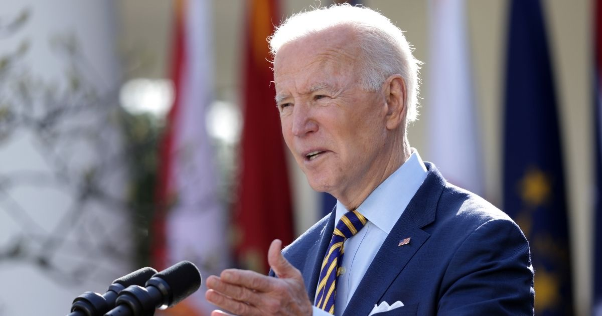 President Joe Biden speaks during an event on the American Rescue Plan in the Rose Garden of the White House in Washington, D.C., on Friday.