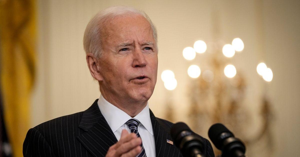 President Joe Biden speaks in the East Room of the White House on Thursday in Washington, D.C.