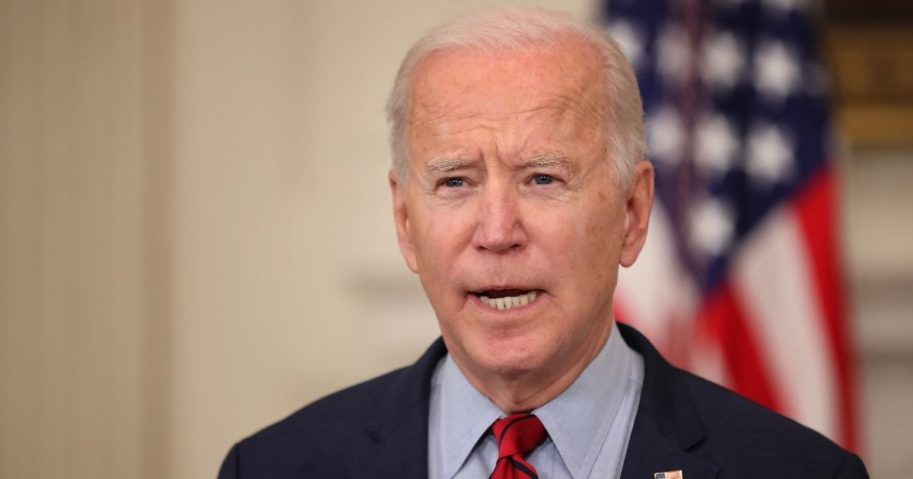 President Joe Biden delivers remarks about Monday's mass shooting in Boulder, Colorado, in the State Dining Room at the White House on Tuesday in Washington, D.C.