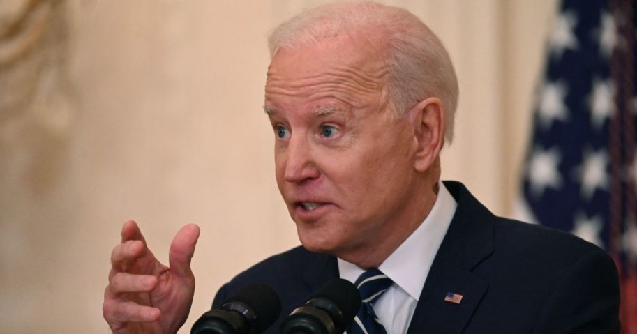 President Joe Biden speaks during his first press conference in the East Room of the White House in Washington on Thursday.