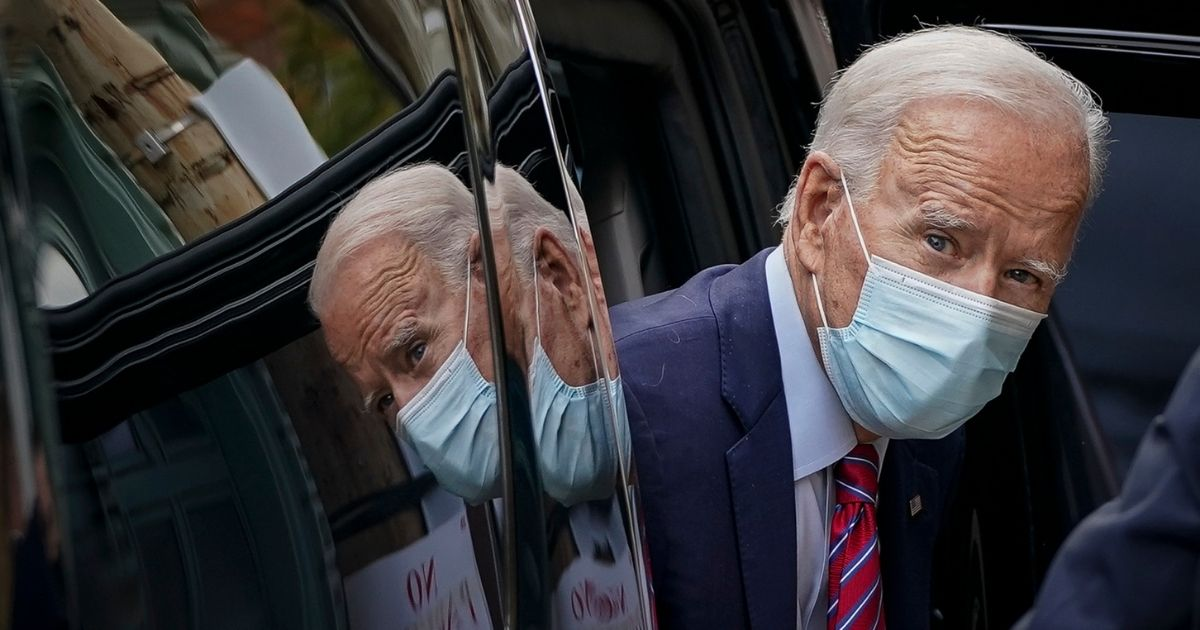 President Joe Biden arrives at The Queen theater on Oct. 19, 2020, in Wilmington, Delaware.