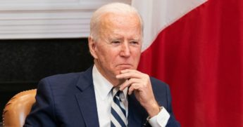 President Joe Biden attends a virtual meeting with Mexican President Andrés Manuel López Obrador in the Roosevelt Room of the White House on Monday.