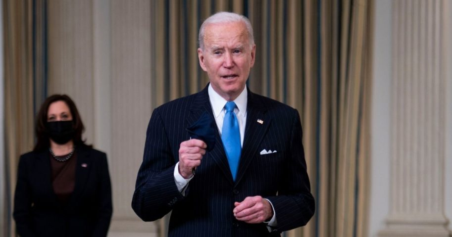 President Joe Biden briefly speaks to reporters after delivering remarks in the State Dining Room of the White House in Washington, D.C., on Tuesday.