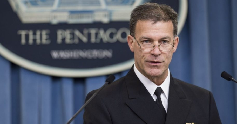 Admiral John Aquilino speaks about the results of an investigation into a January incident where Iranian forces detained 10 U.S. Navy personnel, during a news briefing at the Pentagon in Washington, D.C., on June 30, 2016.